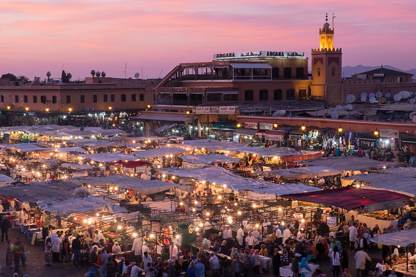 Africa, Morocco. Sunset over the famous Djemaa El-Fna square in Marrakech