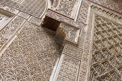 Carved plaster walls of mosque, Morocco.