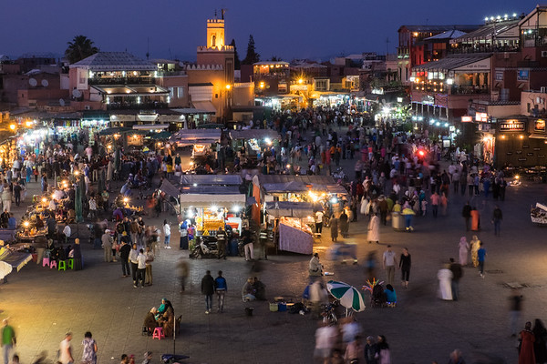 Djemaa El-Fna at twilight, Morocco.