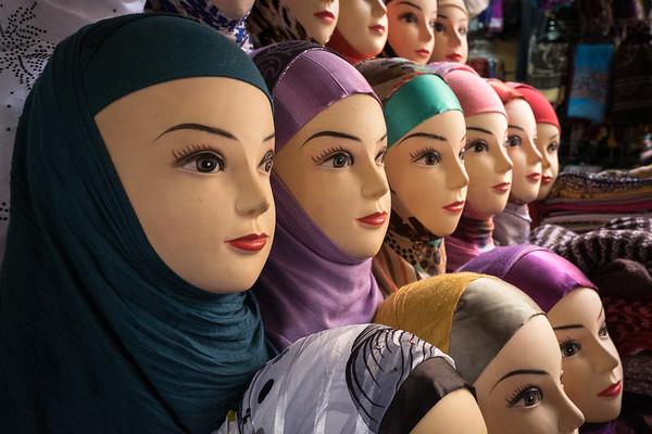 Headscarves for sale, Fes medina, Morocco.