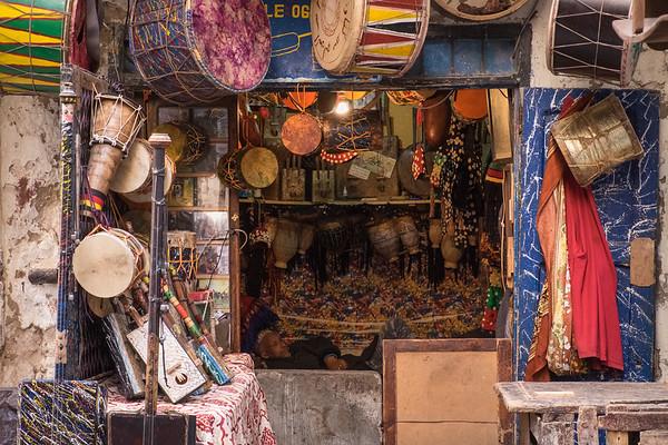Man asleep in his shop, Essouira.