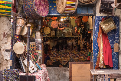 Man asleep in his shop, Essouira.