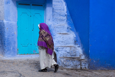 Walking through Chefchaouen, Morocco.
