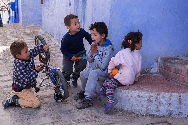Children playing in Chefchaouen, Morocco.