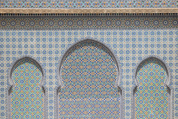 Mosaic tile-covered wall, Morocco.