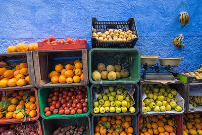 Outdoor fruit Shop, Chefchaouen, Morocco.