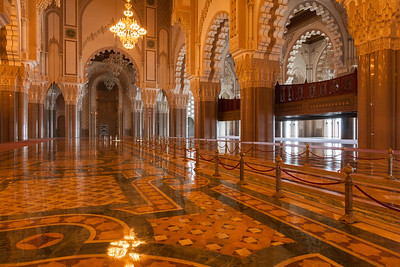 Ornate Interior of Hassan II mosque, Morocco.