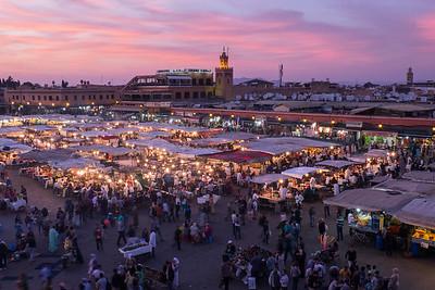 Bustling Djemaa El-Fna square, Marrakech, Morocco.