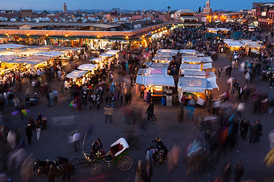 Twilight in Jemaa El Fna, Marrakesh, Morocco.