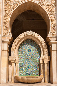 Ornate fountain outside King Hassan II mosque, Morocco.