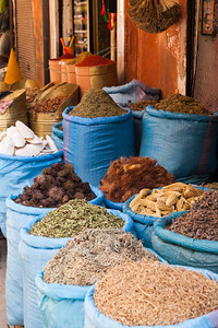Dry goods for sale in shop, Marrakech, Morocco.