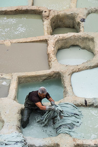 Working in the Tannery, Morocco.