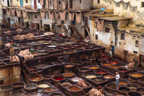 Africa, Morocco, Fes. An overhead view of the tannery for leather-dyieng using traditional vats and methods.