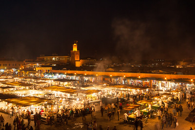 Night in Djemaa El Fna square, Marrakech, Morocco.