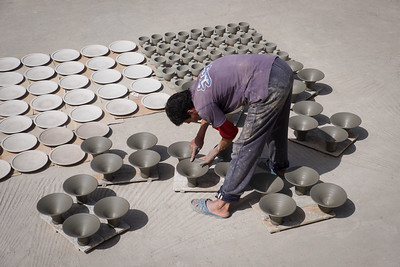 Working in a ceramic factory, Fes.