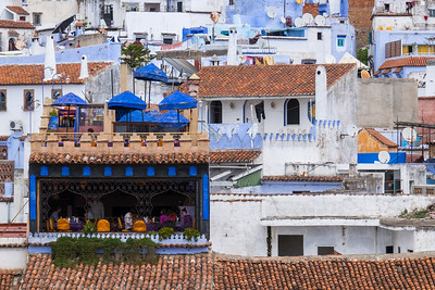 Hillside view of Chefchaouen, Morocco.
