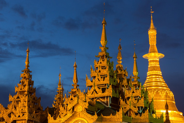 Twilight at Schwedagon Pagdoa, Myanmar.