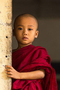 Portrait of Young Child monk, Myanmar.