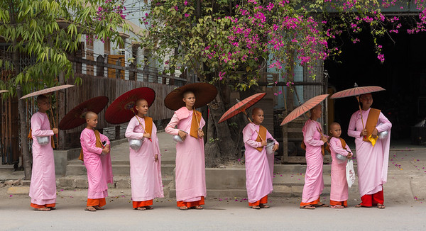 Nuns with umbrellas and rice bowls, Mandalay, Myanmar.