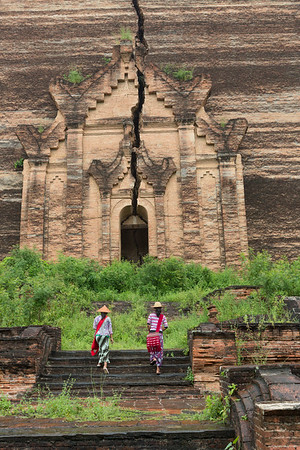 Climbing the steps to Mingun Pahtodawgyi, Myanmar.