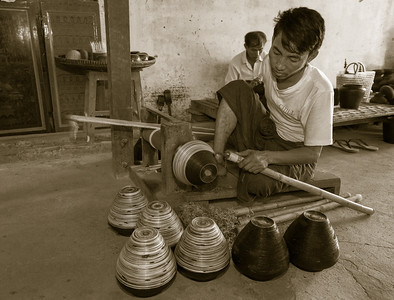 Making lacquerware, Bagan, Myanmar.