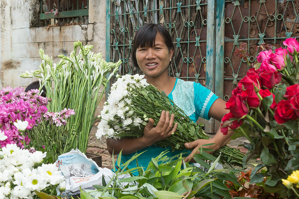 Flower vendor, Myanmar.