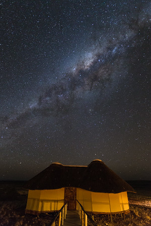 Milky Way and Thatched Guest Hut, Sossusvlei.