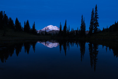 Mt. Rainier reflected, in the blue hour.