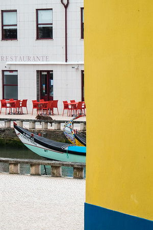 Street view of canal in Aveiro, Portugal.