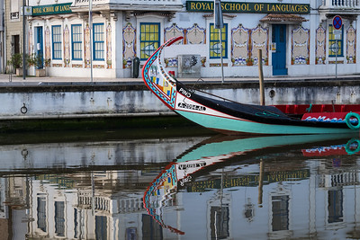Boat and reflection, Aveiro, Portugal.