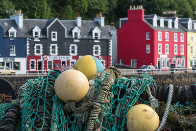 Fishing Nets and Tobermory Town, Scotland.