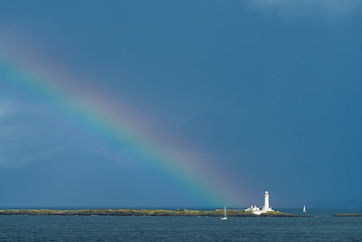 Rainbow over Eilean Musdile Lighthouse, Scotland