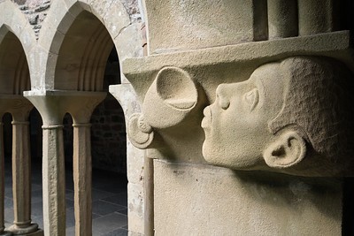 Sculpture in Wall, Iona Abbey, Scotland.
