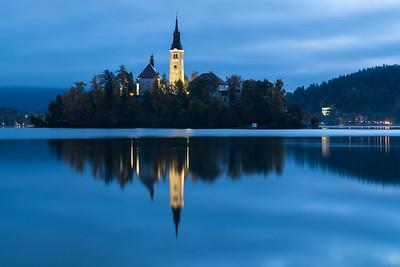 Blue Hour on Lake Bled, Slovenia.