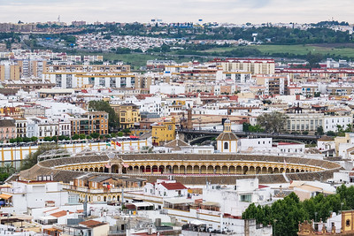 City view with bullring, Seville.