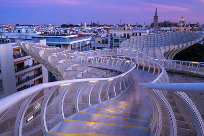 View over Seville at sunset.