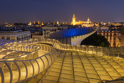 View over Seville at twilight.