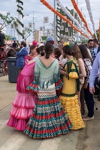 Group of women chatting at Spring Fiar, Seville.