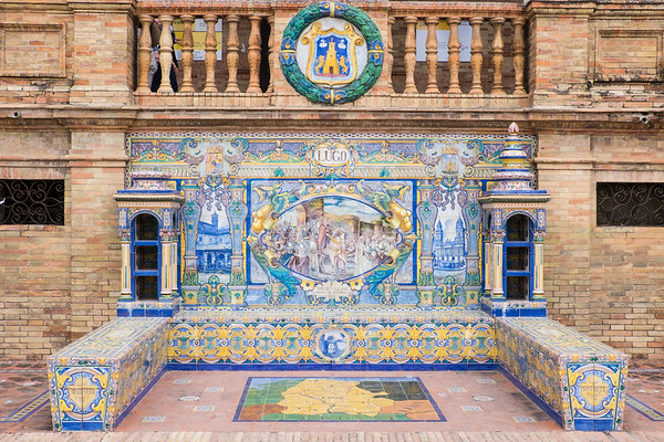 Tiles promoting Lugo Province.