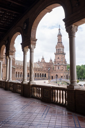 Arches and towers of Plaza de España.