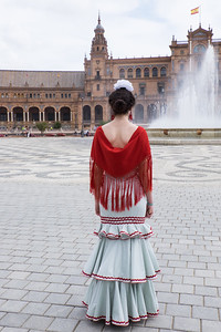 Woman in Spring Fair Flamenco dress, Seville.