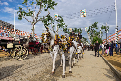 Horse-drawn carriages at the fair.