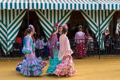 Festive Flamenco dresses at the fair, Seville.
