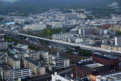 Shinkansen - Bullet Trains viewed from Kyoto Radio Tower