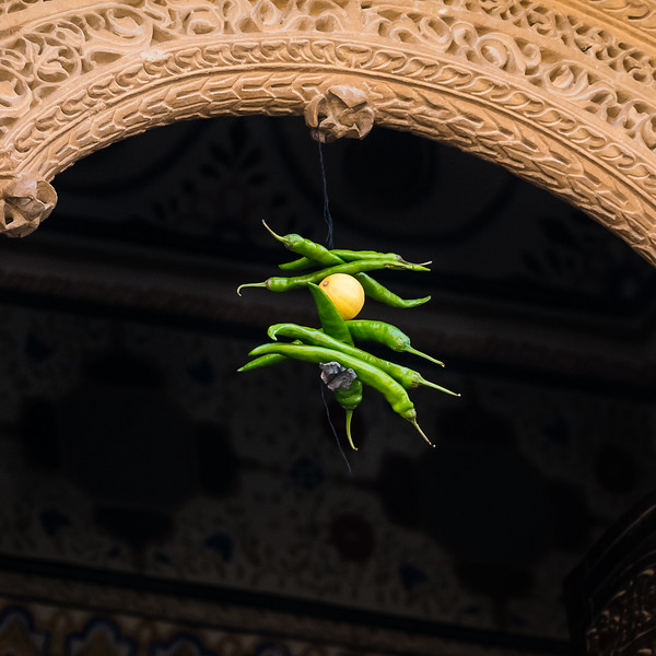 7 Green Peppers, & lemon for Good Luck, Jaisalmer, Rajasthan