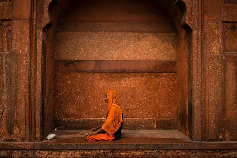 A woman praying at the Jama Masjid, Delhi