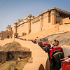 Going up to the fort on elephants, Jaipur, Rajasthan