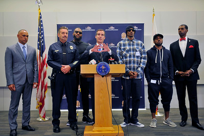 THE MAYOR OF LOS ANGELES, ERIC GARCETTI, THE CHIEF,OF POLICE CHARLIE BECK,THE GAME, AND SNOOP DOG HOLD PEACE CONFERENCE TO DISCUSS PLANS STO STOP THE VIOLENCE BEFORE IT GETS STARTED.  PRESS CONFERENCE WAS HELD AT PARKER CENTER IN LOS ANGELES CALIFORNIA ON JULY 8, 2016 PHOTOS BY VALERIE GOODLOE