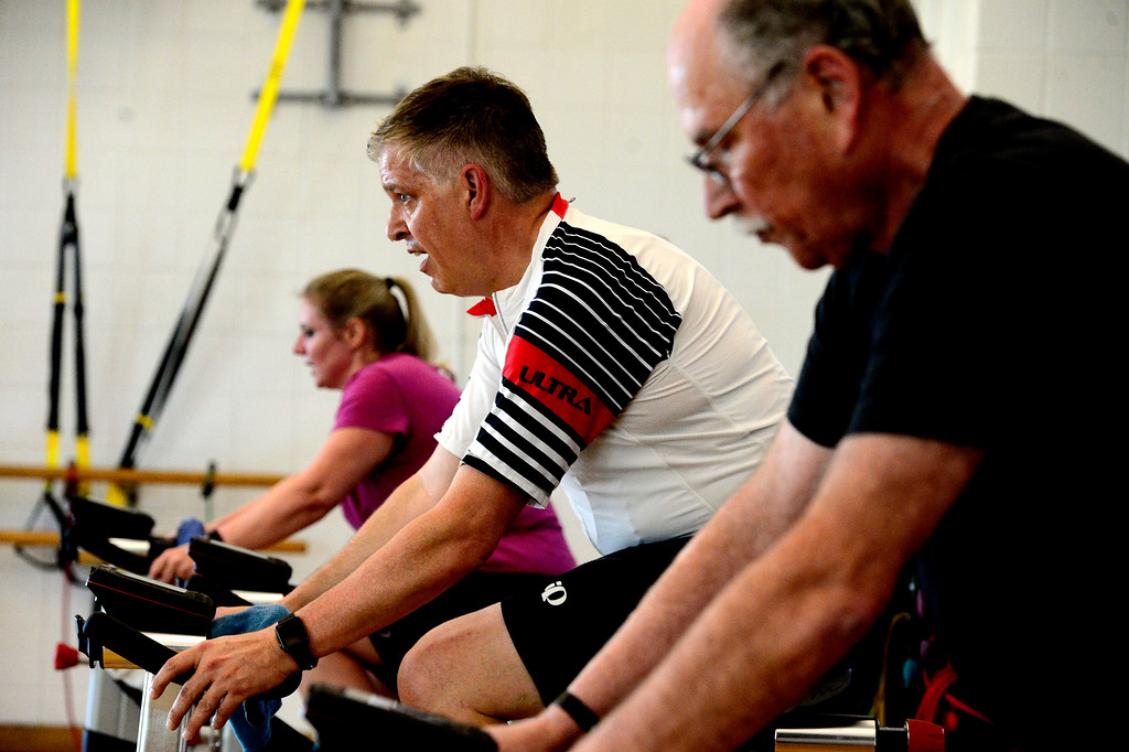 . Jim Creese during The Ride! class at the East Boulder Community Center on Thursday. For more photos go to www.dailycamera.com Paul Aiken Staff Photographer April 6, 2017