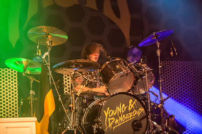 Drummer Gethin Davies THE STRUTS performing July 3rd at The Observatory North Park San Diego, CA